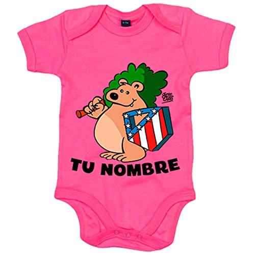 Body bebé Atlético de Madrid oso y escudo personalizable con nombre - Rosa, 6-12 meses
