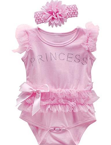 MOMBEBE COSLAND Body Bebé Niña Princesa Sin Mangas Encaje, 12-18 Meses, Rosa