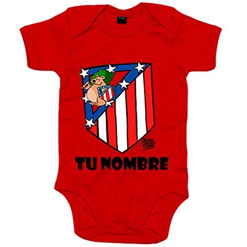 Body bebé El Escudo del Atleti clásico personalizable con nombre ilustrado por Jorge Crespo Cano -...
