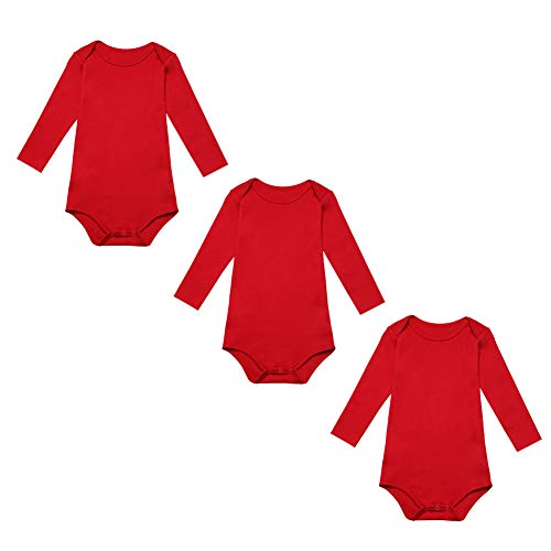 BINIDUCKLING Body para Bebé Niña Ropa Interior Pack de 3 Rojo 3 Meses