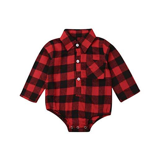 Mono Bebé de Manga Larga Camisa de Franela a Cuadros Rojo y Negro para bebé recién Nacido Unisex...