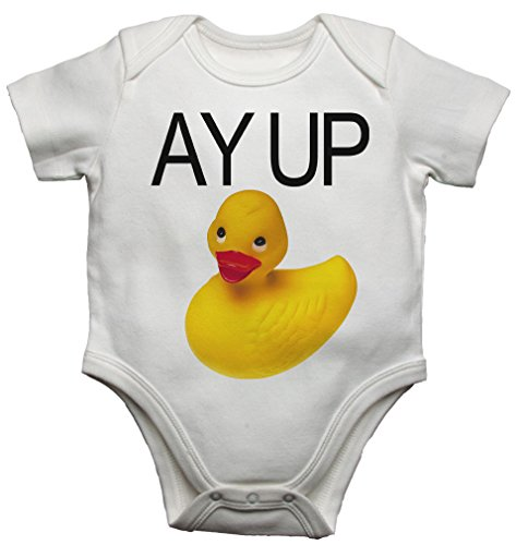 Ay Up - Body de goma para bebé, diseño de pato, color amarillo (9-12 meses)