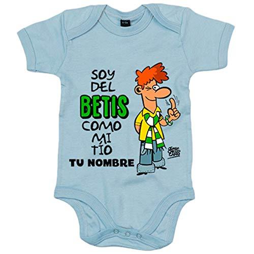 Body bebé frase soy del betis como mi tio personalizable con nombre ilustrado por Jorge Crespo Cano...