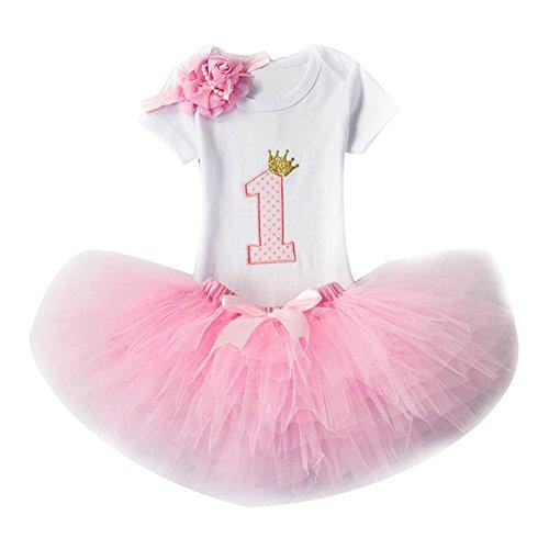 Bebé Niña Vestido Cumpleaños 3pcs Corona Patrón de Primer/Segundo Cumpleaños para Vestido de...