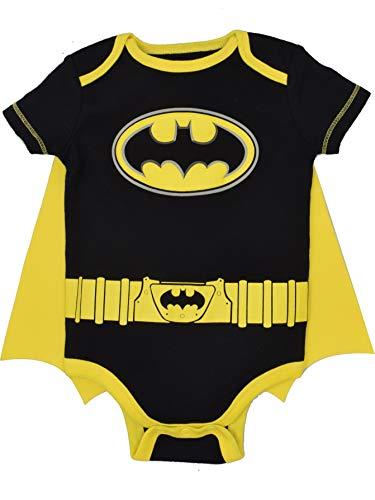 DC Comics Body de Manga Corta de Batman con Capa - Disfraz Friki Divertido para Bebé-Niños, Negro...