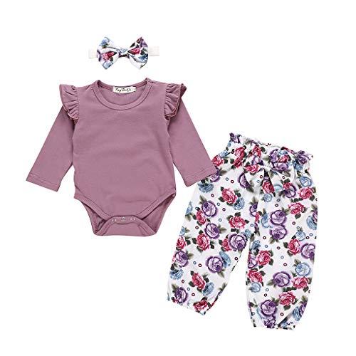 TUDUZ Bebé Niña Manga Larga Body Camisetas Carta Mono Pantalones Florales Venda De Pelo Ropa...