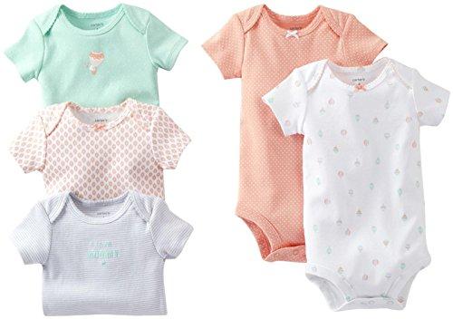 Carter's - Conjunto de 5 bodies para bebé, 18 meses, color coral