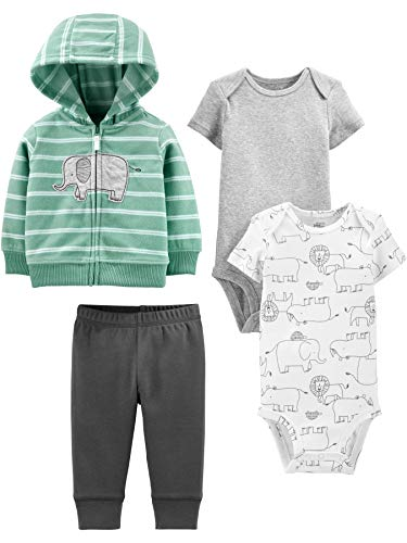 Simple Joys by Carter's - Pantalón - para bebé niño multicolor Mint Elephant 12 Months