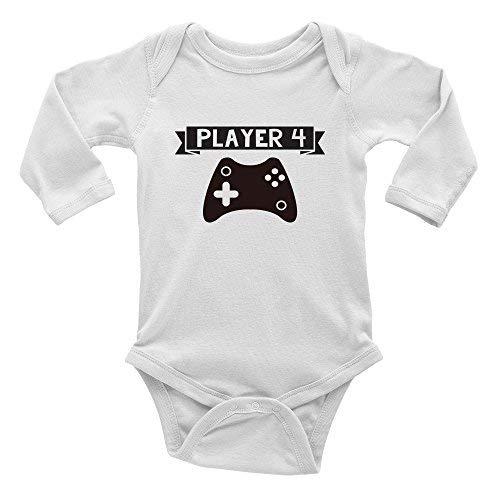 Mono de bebé Promini Player 4 videojuegos de una pieza para bebé Blanco blanco 12 meses