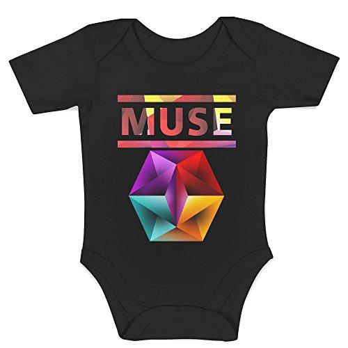 LaMAGLIERIA Body Bebè Muse Text Logo - Body Rock 100% Algodon, 0-3 Meses, Negro