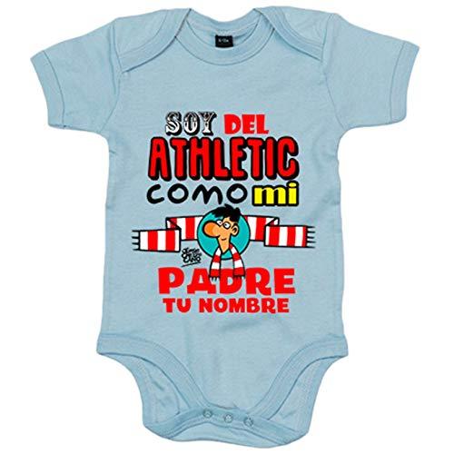 Body bebé soy del Athletic como mi padre personalizable con nombre ilustrado por Jorge Crespo Cano...