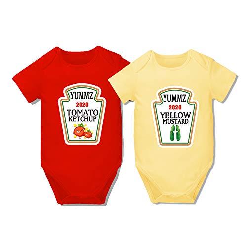 AOUYOA Bebé Twins Body Regalo Ropa Niño Yummz Ketchup Mostaza Bebé Ducha Conjunto Bebé Twins...