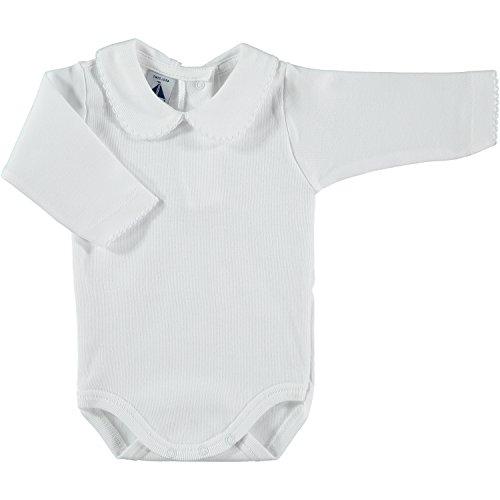 BABIDU Body Cuello Algodon, Blanco, 12 Meses Bebe-Unisex