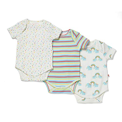 Piccalilly - Conjunto de 3 bodis para bebé, algodón orgánico, unisex, diseño de rayas arcoíris...