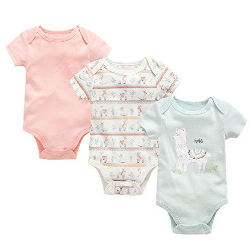 Conjunto de Monos 3 Piezas para Recién Nacido Niña Niño Mameluco Bebé Manga Corta Body de...