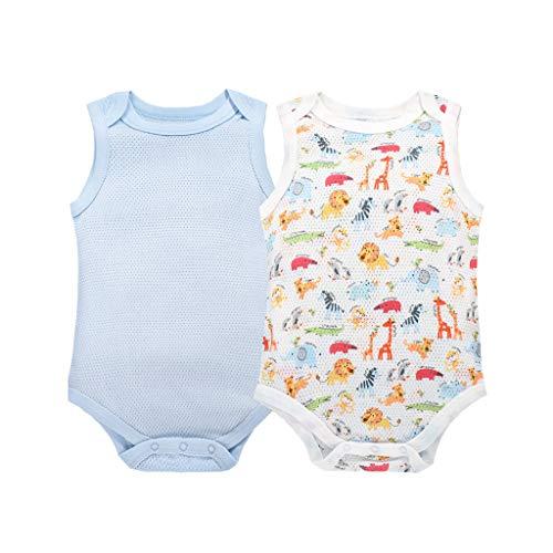 Bebé Body Mono Sin Mangas AlgodóN Cuerpo Pijama Chaleco para Verano 2 Paquetes Azul 6-9 Meses
