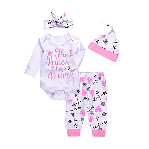 Chickwin 4PCs Infant Baby Baby Girl Christmas Letter Letter Romper + Pants + Hat + Headband Outfits...