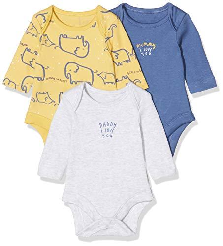 Mothercare Io B M&d 3pk Bodysuits LS Body, (Bright Multi 281), New Baby (Size:56) para Bebés