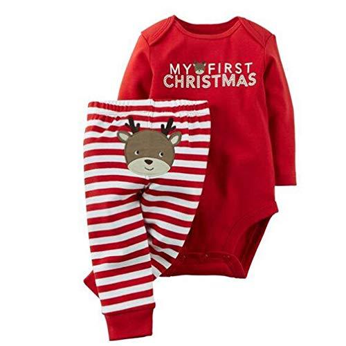 Conjunto de Navidad, Body+Pantalones Bebé Ninas Ninos Invierno Recién Nacido Monos de Manga...
