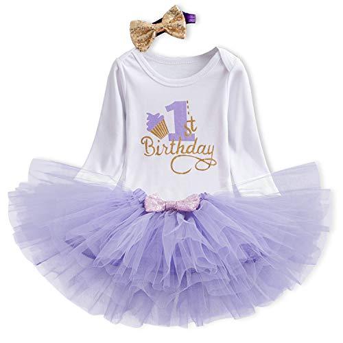 TTYAOVO Bebita 1er Cumpleaños Princesa Tutu Falda Ropa Conjunto de 3 Piezas Trajes Mameluco Falda...