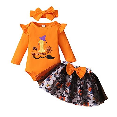 U-Sinmule Conjunto de ropa de Halloween para bebé recién nacido My First Halloween Body Tutu Falda...
