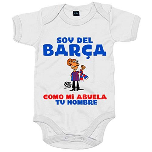 Body bebé frase parodia soy del Barcelona como mi abuela personalizable con nombre - Blanco, 6-12...