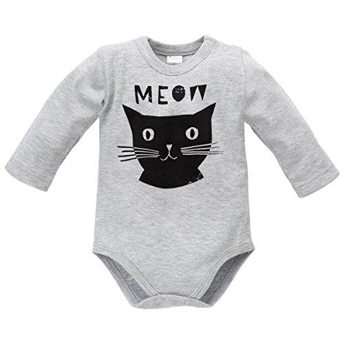 Pinokio - Happy Day - Body de manga larga para niña 100% algodón, negro y gris con gato - Body de...