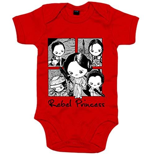 Body bebé Chibi Kawaii tributo Princesa Leia parodia de las galaxias - Rojo, Talla unica 12 meses