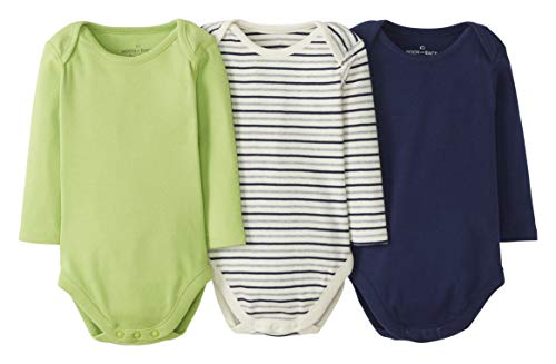Moon and Back by Hanna Andersson 3 Pack Long Sleeve Bodysuit Infant-and-Toddler-Bodysuits, Azul...