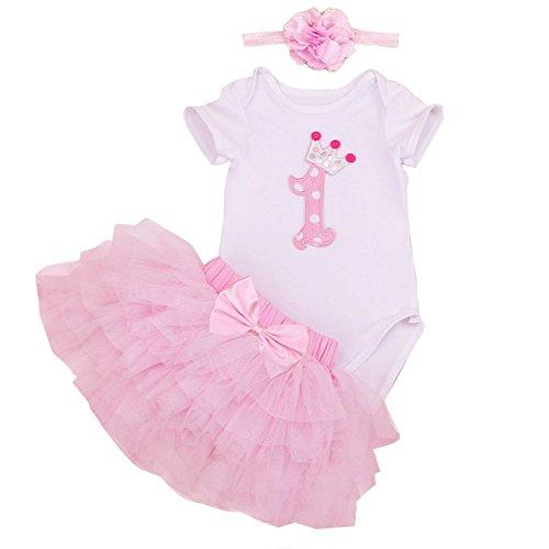 BabyPreg Bebé Niñas 1er Cumpleaños tutú con Juego de Diadema (Rosado, 9-12 Meses)