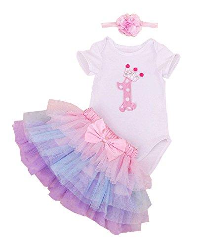 BabyPreg Bebé Niñas 1er Cumpleaños tutú con Juego de Diadema (9-12 Meses, Púrpura)