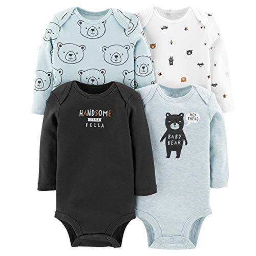 4 Piezas Bebé Body Mono de Manga Larga Mameluco Algodón Recién Nacido Pijama Bebés Juegos de...