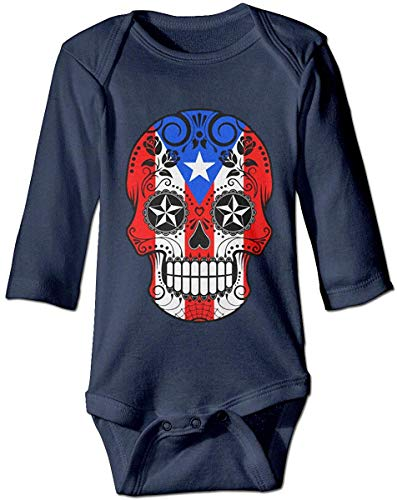 WlQshop Mono para Bebé,Mameluco Bebé Unisex Sugar Skull with Roses and Flag of Puerto Rico Newborn...