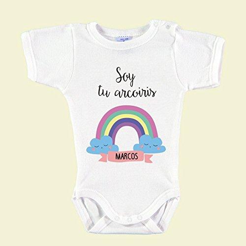 Body Bebé Personalizado con Nombre 100% Algodón Orgánico'Soy tu Arco-Iris' (1 mes)