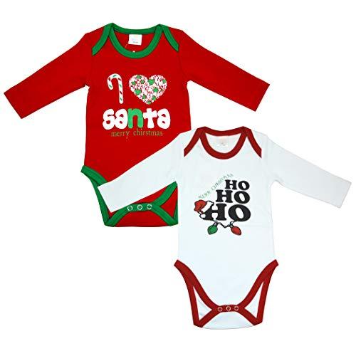 Ozyol Body de Navidad para bebé, 2 Unidades, 100% algodón, Estampado con diseño de Papá Noel,3...