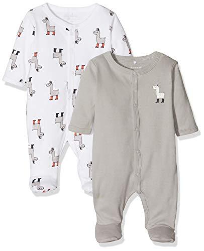 NAME IT Nbnnightsuit 2p W/f Noos Pijama, Multicolor (Weiß Bright White), 86 (Pack de 2) para Bebés