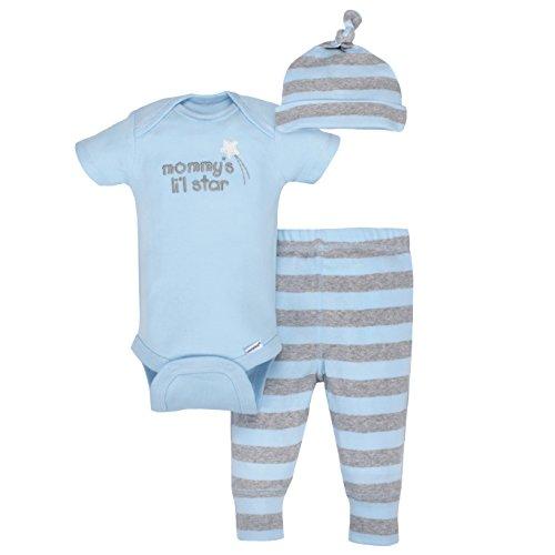 Gerber Baby Boys' 3-Piece Organic Onesies Bodysuit, Pant and Cap, Gray/lt Blue, 12 Months