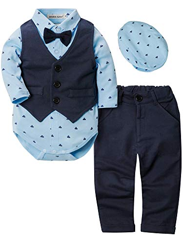 ZOEREA 4pcs Ropa Bebe niño Conjuntos Camisas de Manga Larga + Chaleco + Pantalones + Boina,...