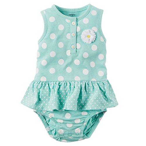 Carter's Baby Girls - Mono para bebé (3 meses), diseño de lunares, color azul