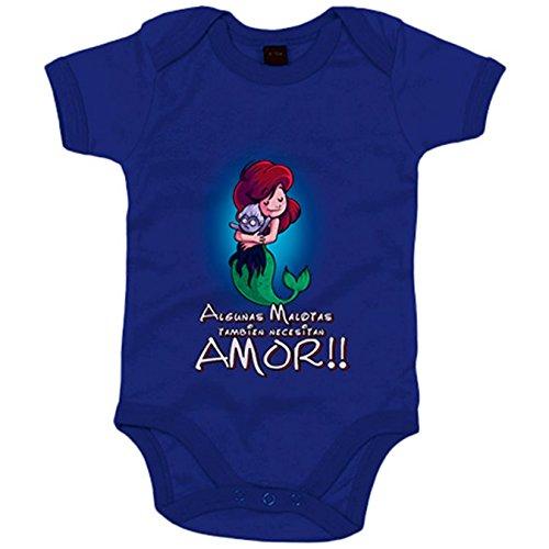 Body bebé parodia de La Sirenita Ariel algunas malotas también necesitan amor - Azul Royal, 6-12...