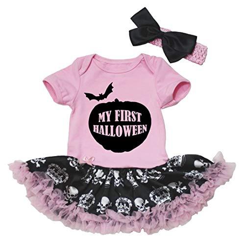 Petitebelle mi primer Halloween rosa body de tutú de corona de calaveras negro bebé nb-18m Rosa...