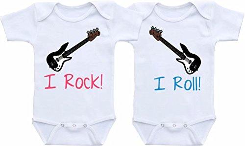 Promini - Body para bebé de una sola pieza con texto 'I Rock I Roll Twins