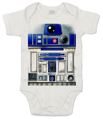 Image is Everything IIE - Body de manga corta con diseño de robot R2 Blanco blanco 18 meses