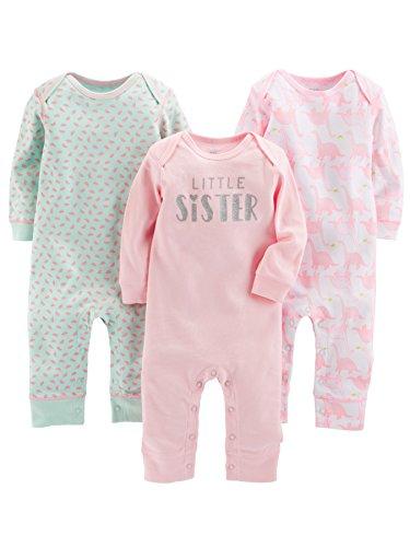 Simple Joys by Carter's enteritos para bebés, paquete de 3 ,Pink/Mint/Dino ,0-3 Months
