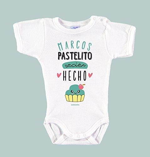 Body Bebé Personalizado con Nombre 100% Algodón Orgánico'Pastelito Recién Hecho' (18 meses,...