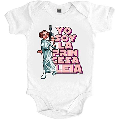 Body bebé Soy Princesa parodia Leia - Blanco, 6-12 meses