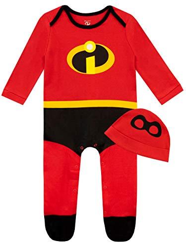 Disney Pijama Entera y Gorro para Niños Bebés The Incredibles Rojo 3-6 Meses