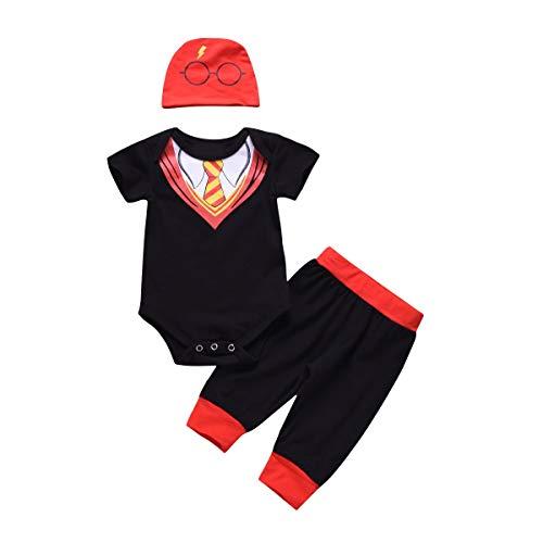 Puseky Trajes de caballero para bebés recién nacidos Traje Romper de manga corta + Pantalones +...
