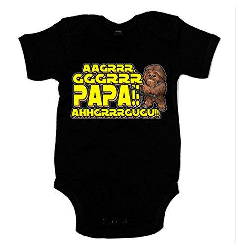 Body bebé parodia Chewbacca papá - Negro, 6-12 meses