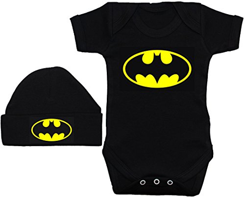 Conjunto de pelele, gorro y babero para bebé de Batman, color negro, de 0 a 12 meses negro negro 6...